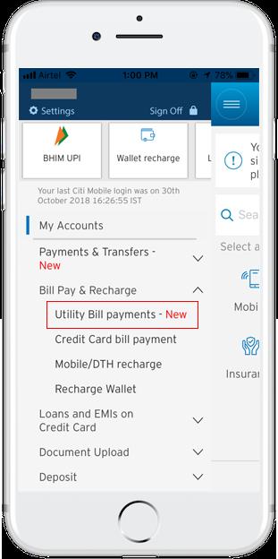 Citi India | Bill Payments