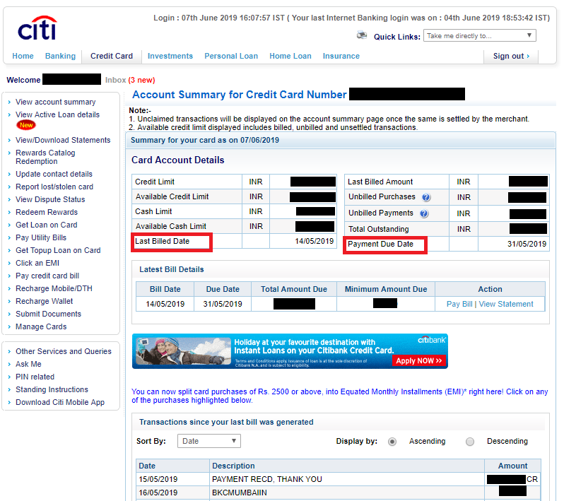 Know Your Credit Card Payment Due Date – Citi India