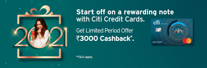 Banner highlighting limited period cashback and Amazon gift card offers on applying for a Citi Credit Card