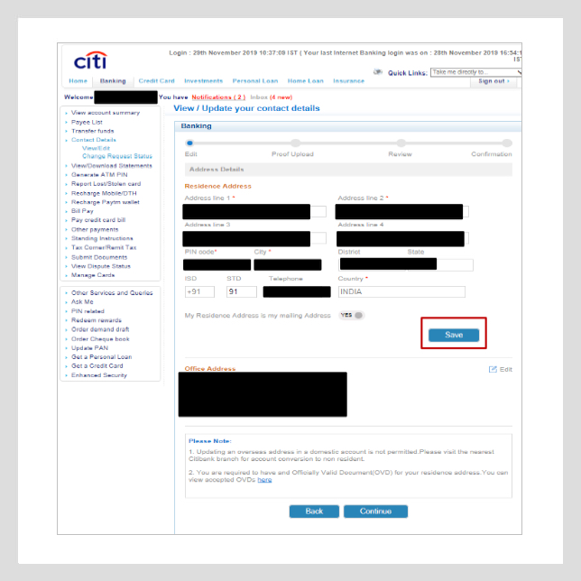 citibank address change request