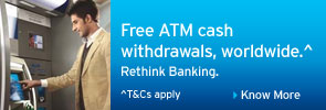Free ATM cash withdrawals, worldwide.^ Rethink Banking.